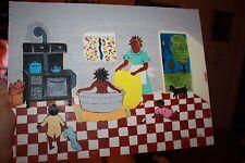 Marion Line VA Folk Art Oil Painting Canvas 1986 Black Americans Grandma Moses