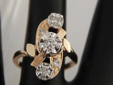 Unique Art Deco Diamond Three Stone Ring .35 tcw 14k YG Transitional Cut H/VS2