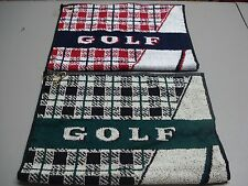 """USA Made NWOT 2 Golf Towels w/ Eyelet For Hook 17"""" x 25"""" Green/Navy #118Z"""