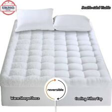 Reversible Pillowtop Mattress Topper Cooling 400Tc Warm Plush Sherpa Pad Cover