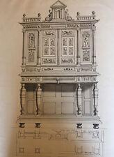 Tres Beau Grand Dessin Original Meuble XVI Sur Papier Encre Lavis