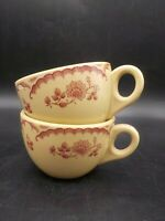 2 Vintage 1940's Inca Restaurant Ware Shenango Coffee Cups Chardon Rose Tan