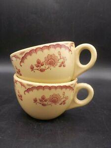 2 Vintage 1940's Inca Restaurant Ware Shenango Coffee Cups Chardon Rose Tan