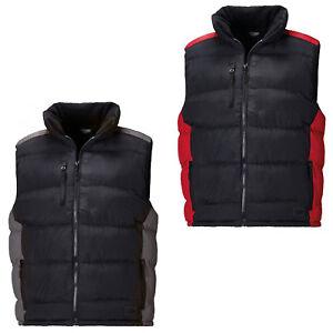 Dickies Crayford Mens Gilet Bodywarmer Black Two Tone Zip Up Padded Vest BW7004