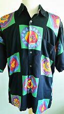 Vtg Mens Countess Mara Hawaiian Camp Shirt Disco Artist Bold Colorful Campy Sz M