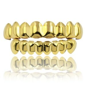 14k Gold Plated Grillz Teeth Hip Hop Top Bottom Set Custom Grills Caps Mouth Fit