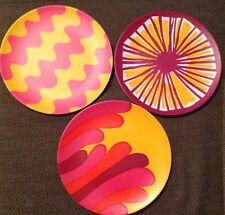 New listing Marimekko for Target Set 3 Salad Plates Pink Yellow Orange Melamine New