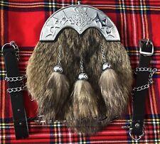 Full Dress Kilt Sporran Fox Fur Celtic Cantle /Scottish Kilt Sporrans Scottish