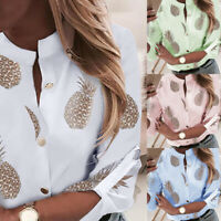 Women Long Sleeve Pineapple Printing Blouse Work OL T-shirt Tops Size S-2XL