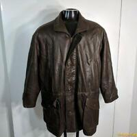 ASCURD Vtg Lambskin LEATHER JACKET Mens Size XL Brown zippered insulated