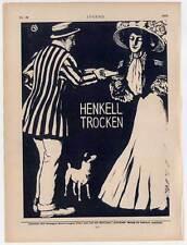 """- SPUMANTE pubblicità con loghi HENKELL secco-di Monaco """"gioventù"""" 1909 Terrier"""
