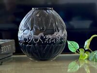 Lalique Tanzania Vase with Black & White Enameled Zebra Decoration Signed MINT