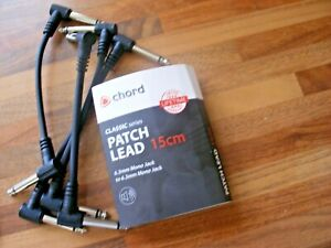 GUITAR PATCH CABLES/LEADS FOR EFFECTS PEDALS PACK OF 4 (4.5 - 5ins 0.12m/0.13m)