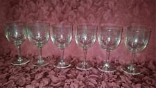 RETRO VINTAGE  BOHEMIA  GLASS HAND ETCHED WINE GLASSES X 6 CZECH