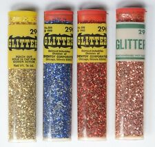 4 Vintage Containers of Shiny Glitter Chemtoy 29 cents Red, Blue, Gold, Pink