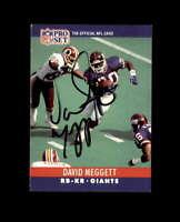 David Meggett Hand Signed 1990 Pro Set New York Giants Autograph