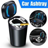 Blue LED Car Auto Cup Holder Ashtray Cigarette Storage Organizer Smokeless W/Lid