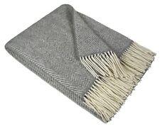 Merinowolldecke Wohndecke Plaid Tagesdecke Decke 140x200 cm Wolle Grau Milano