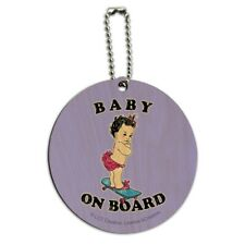 Baby On Skate Board Funny Humor Round Wood Luggage Card Suitcase Carry-On ID Tag