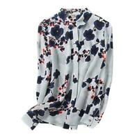 100% Silk Blue Floral Long Sleeve Spring Shirt Tops Blouse Chic Women's Comfy XL