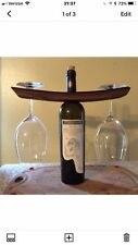 Wine Barrel Wine Bottle & Glasses Display