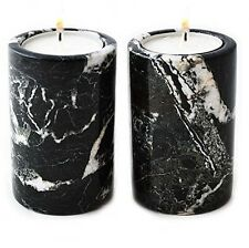 X 2 black marble tea light candle holder - home garden party & barbeque bbq gift