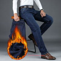 Mens Winter Casual Thermal Jeans Fleece Lined Denim Pant Straight Leg Trousers