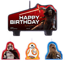 Star Wars Party Supplies Candles Set Episode VII Mini Moulded Set of 4 Genuine