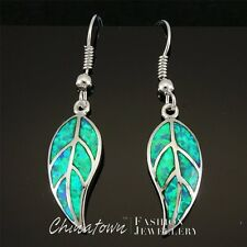Inlay Silver Jewelry Dangle Drop Earrings Nature Leaf Shape Kiwi Green Fire Opal