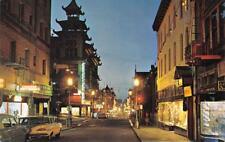 CHINATOWN San Francisco, CA Grant Avenue Street Scene Night View c1960s Postcard