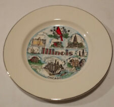 Vintage Decorative Collectible State Plate Of Illinois 10 Inch Gold Trim