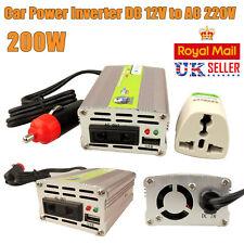 USB Car Power Sine Wave Inverter DC 12V to AC 220V Charger 200W Converter UK