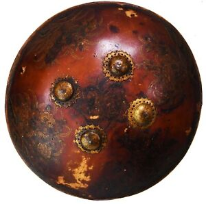 18th CENTURY INDO-PERSIAN LEATHER HIDE PAINTED SHIELD FROM RAJASTHAN. #9699