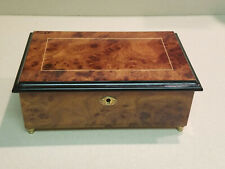 """Vintage Maple Burl """"Love Song"""" Musical Box Made In Italy"""