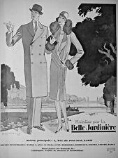 PUBLICITÉ 1927 HABILLÉS PAR LA BELLE JARDINIÈRE VÊTEMENTS HOMMES DAMES ENFANTS