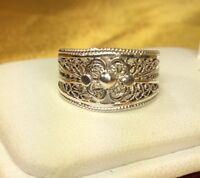 Vintage Sterling Silver Filigree Ring SZ-6.5 Fine Jewelry