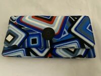 Kipling Teddi Wallet Floral Print Billfold Geometric Blue Red Black Canvas Nylon