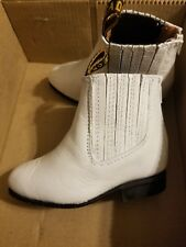 Boy's Size 5 White Leather Boots Special Occasion (Wedding, Baptism, Party)