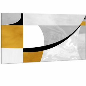 Abstract Mustard Yellow Grey Painting Canvas Art Pictures