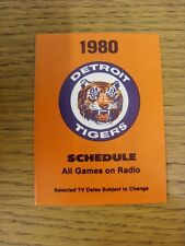 1980 Fixture Card: Baseball - Detroit Tigers (fold out style). Any faults with t