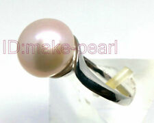 PRETTY AAA+ 11.5mm Bread Pink Rose South Sea Pearl SterlingSilver Ring 6# 7# 8#