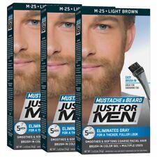 Just For Men Mustache & Beard Beard Coloring for Gray Hair Brush Included 3 Pack