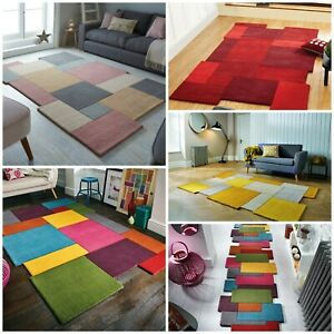 ABSTRACT BLOCKS THICK SOFT QUALITY 100% WOOL OCHRE RED MULTI PASTEL RUG RUNNER