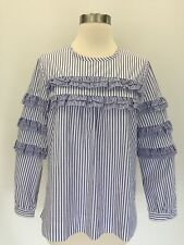 New J Crew Tall Tiered Top in Mixed Stripes Brunswick Blue White Sz 8T G7012