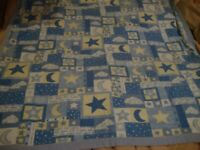 "Handmade Vintage Baby Crib Blanket Blue & White Moon + Stars  30""x32""        380"