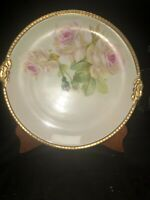 "Hand Painted Signed 12"" Cabinet Plate Roses Limoges LDBC Flambeau Gilt  Edge"