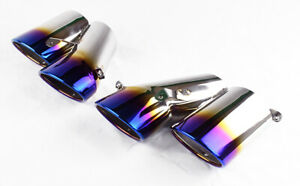 """Burn Style 4"""" Quad Staggered Exhaust Tips For Honda Accord 4dr Sedan 2018-2020"""