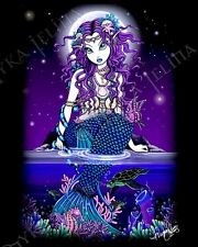Mermaid Sea Turtle Siren PRINT Tropical Night Gothic Faerie Uxia Myka Jelina Art