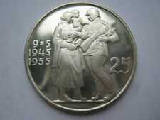 More details for czechoslovakia 1955 silver proof 25 korun lightly toned