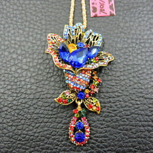 New Fashion Betsey Johnson Charm Colorful Crystal Flower Pendant Chain Necklace